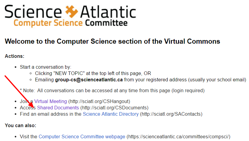 Screenshot of a Virtual Commons Committee header